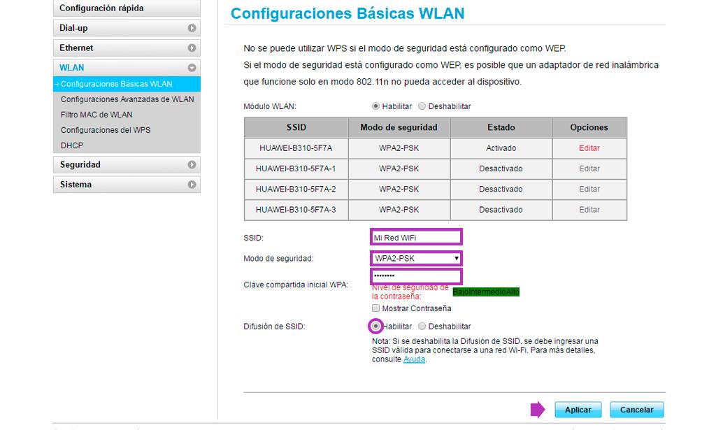 cambio clave wifi BAI