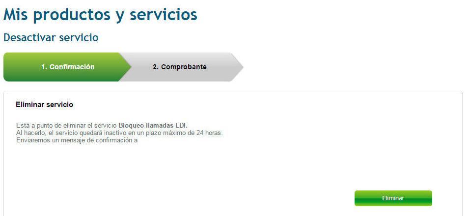 Desactivar servicios telefonía hogar