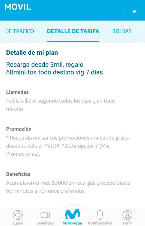 ver tarifa en la app